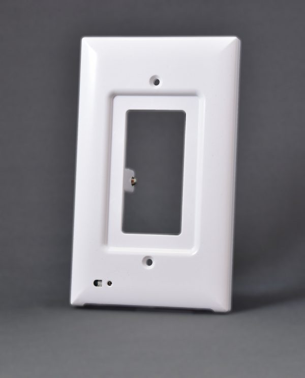 White colored decora outlet cover with built-in light
