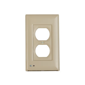 Almond colored duplex outlet cover with built-in light