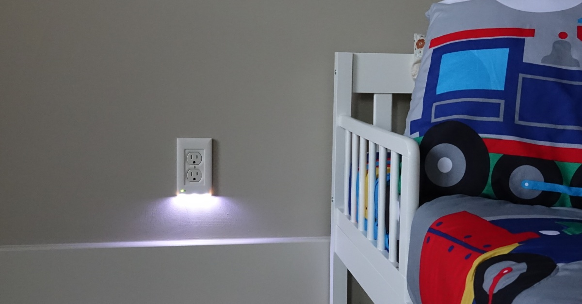 briteOWL® LED outlet cover installed on wall in kid's bedroom